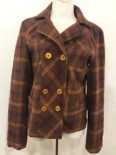 Womens Volcom Jacket Medium Button Up Plaid Peacoat Wool Blend Brown