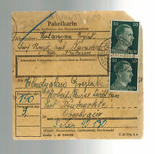 1944 Plonsk Germany Parcel Cover to Loibl Pass Concentration Camp Mauthausen