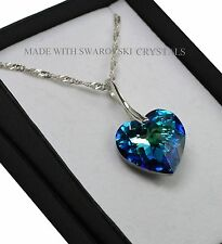 925 Sterling Silver Necklace *BERMUDA BLUE* 18mm Heart Crystals from Swarovski®