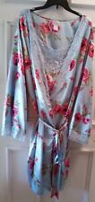 Amoureuse Women's 6X Blue Floral W/blue lace Nightgown & Belted Satin Robe Set