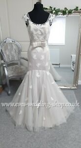 Lou Lou bridal grey wedding dress with brooch not bow UK 16 - check measurements