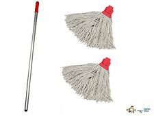 More details for professional colour coded mop handle and 2 mop heads - colour red