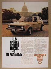 1978 Volkswagen VW Rabbit Diesel washington dc capitol photo vintage print Ad