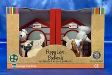"""NEW Wooden Bookends Puppy Love Dogs Puppies Boys Girls Children Kids Red 6"""""""
