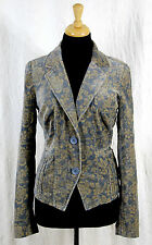 DKNY JEANS PALE BLUE BEIGE DAMASK PATTERN VELOUR VELVET COTTON ELEGANT JACKET M