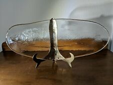 "Clear Glass Fish Platter, Salmon, 19"" by 8"""