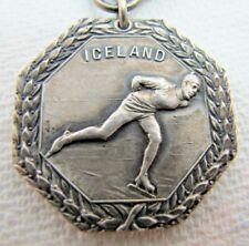 1927 ICELAND STERLING Silver ICE SKATING Sports Award Medallion Dieges & Clust