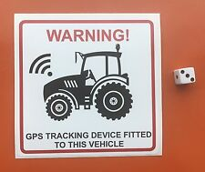 "WARNING TRACTOR STICKER GPS TRACKING DEVICE DECAL AGRICULTURE FARMING 5"" X 5"""