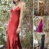 Ladies Women Solid Sleeveless Backless Open Fork Long Strap Slip Formal Dress