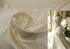 High Quality Ivory Thick Satin Fabric Bridal Wedding Gown Diy. by per 0.5m