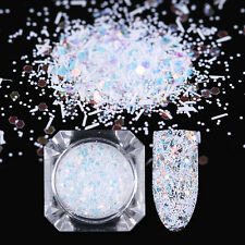 Nail Glitter Sequins White Snowflake Powder Hexagon Stripe Flakes 3D Decoration