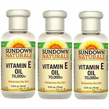 Sundown Naturals Pure Vitamin E Oil 70000 IU For Face Dry Skin 2.50oz Pack Of 3