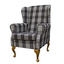 Charcoal Tartan Wing Back Orthopaedic Fireside Chair - NEW