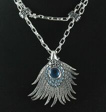 Blue Topaz Pendant With Chain Sterling Silver .925  Elegant