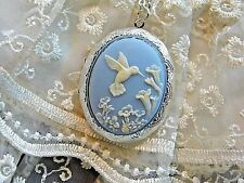 #jrj920 HUMMINGBIRD BLUE PHOTO CAMEO Necklace BOX Locket 925 silver plt quality