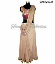 Bollywood Designer Indian Pakistani Stitched Saree-Purple-mauve dual shaded sari