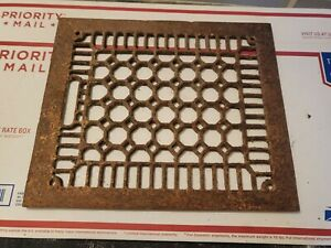 Antique Cast Iron Decorative Heat Grate Floor Register. Vintage Old Rusty.