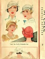 Vintage McCall Ladies 1930's Tie On Fabric Hat Reproduction Sewing Pattern #112