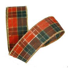 Noel Tartan ruban tissu rouge or vert 38mm (3.8cm) largeur x rouleau de 9,1 m