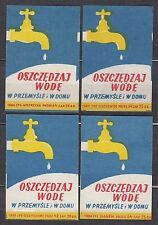 POLAND 1960 Matchbox Label - Cat.Z#173 set, Save water, in industry and at home.