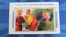 Risque Bamforth Comic Postcard 1950 Golf Course Club Blonde INNUENDO Theme