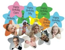 Personalised Birthday Star Table Confetti Words top / Photo's back any colour