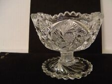 VINTAGE ARTCUT SMALL PRESSED GLASS PEDESTAL COMPOTE DISH BOWL WITH HOBSTARS