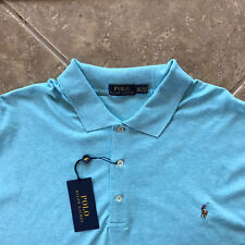 Polo Ralph Lauren Soft Touch Cotton Interlock Shirt Mens M Blue Heathr wPony NWT