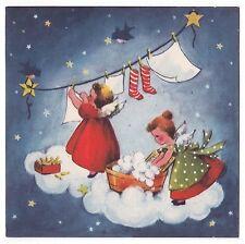 UNUSED Vintage Greeting Card Christmas Angel Cloud Laundry Clothesline 1940s L16