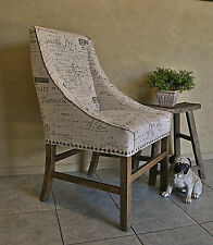 French Provincial Style Script Upholstered Oak Frame Hall Feature Dining Chair