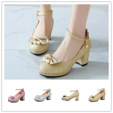 Ladies Bling Sequins Party Club Pumps Bowknot Mid Block Heel Buckle Shoes Lolita
