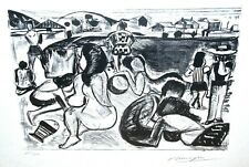 Bathers on the Beach Lithograph Signed Dunoyer