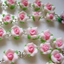 Catholic Pink Soft Cerami Rose Rosary Beads Cross Crucifix Necklace