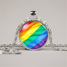 LGBT GLBT Gay Pride Rainbow Flag Charm Pendant Jewelry silver necklace (F177 YS)