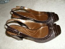 Tahari brown patent leather & suede BLAZE sling back open toe pump SZ 8M