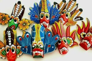 """Hand Carved Wood Wall Home Decor Cultural Colorful Mask Sculpture 4"""" (Set of 4)"""