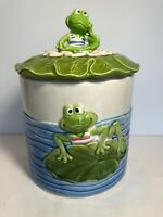 "Super Cute Vintage Enesco Frog Toad On Lily Pad Japan 10x6.5"" Cookie Jar VGC"