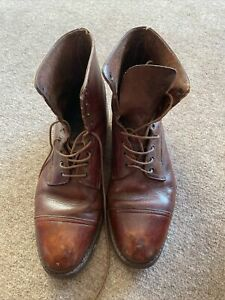 WW2 British Army Officer Boots Brown leather Worn By Desert Rat 8th Army In 1945