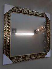 WANDSPIEGEL SPIEGEL 75X75 SCHWAR&GOLD BAROCK STRASSBAND MODERN ELEGANT NEU&OVP