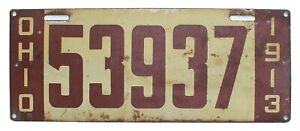 Ohio 1913 License Plate, 53937, Original Paint, Antique, Garage Sign, Garden Art
