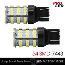 7443/7440 LED Bulbs White Backup Tail Reverse Lights Turn Signal Blinker 54-SMD