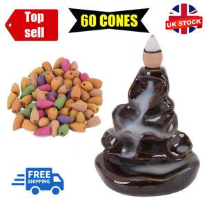 60 Pcs Cones Ceramic Incense Burner Smoke Backflow Waterfall Censer Holder Decor
