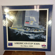 Vintage Sailing Racing Poster Print Framed Americas Cup San Diego California 95