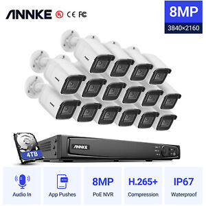 ANNKE 4K Video 8MP PoE System 8/16CH NVR Audio IP Outdoor Camera IP67 Security
