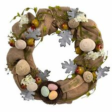 Easter Wreath Burlap Apples Eggs Nest Flowers Greenery Spring Country