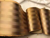 """BTY 4 3/8"""" wide Tan Single faced rayon trim vintage satin ribbon Matte Stripe"""