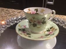 Aynsley Light Mint Green Floral Teacup And Saucer