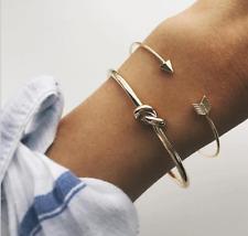 2Pcs Japanese and Korean Fashion New Women's Alloy Arrow Knot Open Bracelet Set