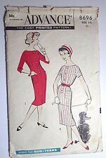 ADVANCE Sewing Pattern 8696 Size 14 Sub Teen Button Dress Vtg 1940 50s Complete