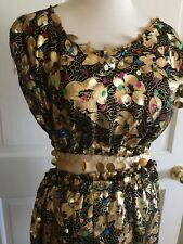 Belly Dance harem pants & top costume  gold  print w hanging sequins XS approx 4